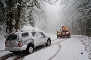 Auto accident in the snow